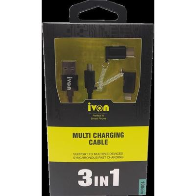 Ivon CA47 3in1 Type C + Lightning + MicroUSB Datenkabel USB Data Cable