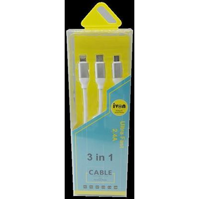 Ivon CA-39 3in1 Type C + Lightning + MicroUSB Datenkabel USB Data Cable Black
