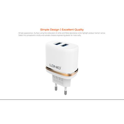 Ldnio DL-AC52 2in1 Dual USB Universal AC Adapter for iPhone 5/6/iPad, iPad Air, 2.4 A