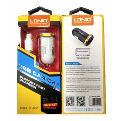 Ldnio DL-C22 2in1 USB Universal Car Charger for Apple Series, 2.1 A, White