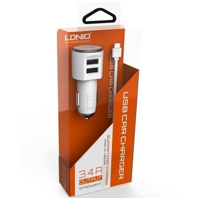 Ldnio DL-C29 2in1 Dual USB Universal Car Charger for Apple Series, 3.4 A