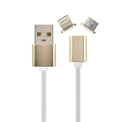 Ivon 2in1 Datenkabel USB Data Cable Metal Magnetic with LED Indicator for iPhone 5/6/iPad and  Micro USB